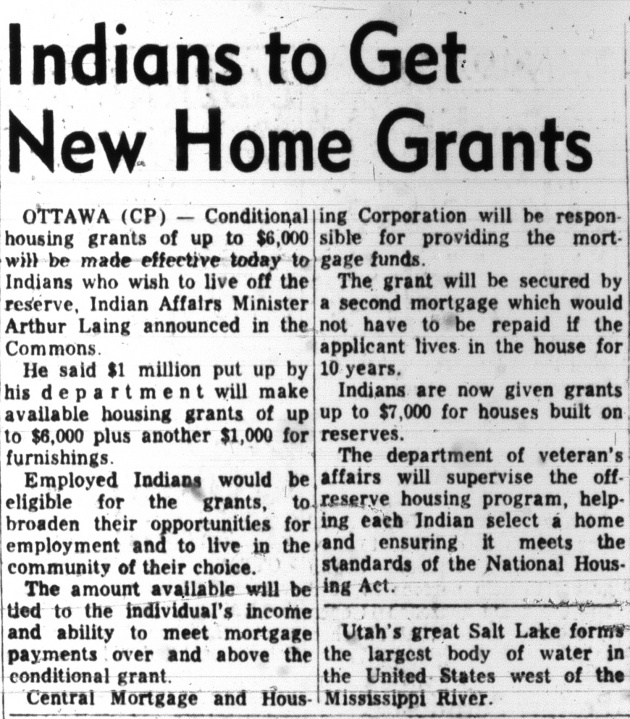 Indians to Get New Home Grants, Vancouver Sun, May 16, 1967 (page 8)