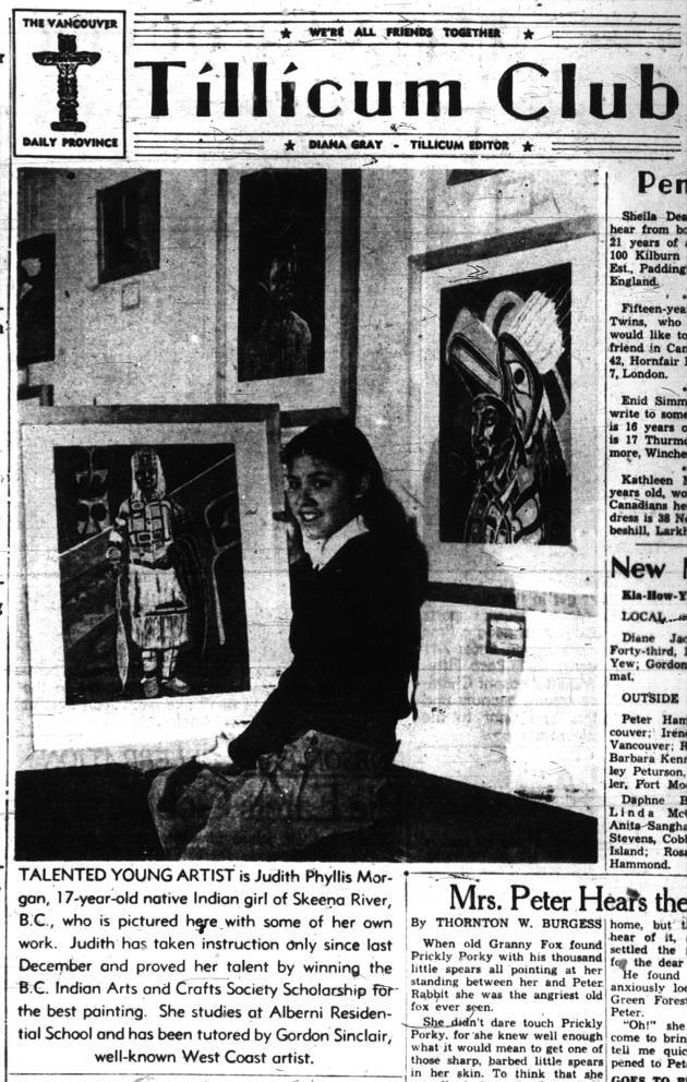 Tillicum Club: Talented Young Artist, Vancouver Province, July 17, 1947 (page 20)