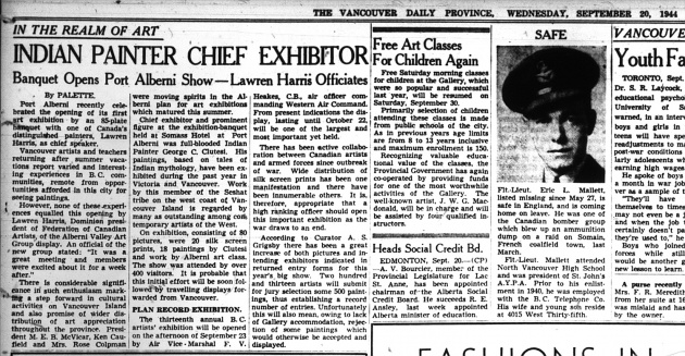 Indian Painter Chief Exhibitor Banquet Opens Port Alberni Show - Lawren Harris Officiates, Vancouver Province, September 20, 1944 (page 7)