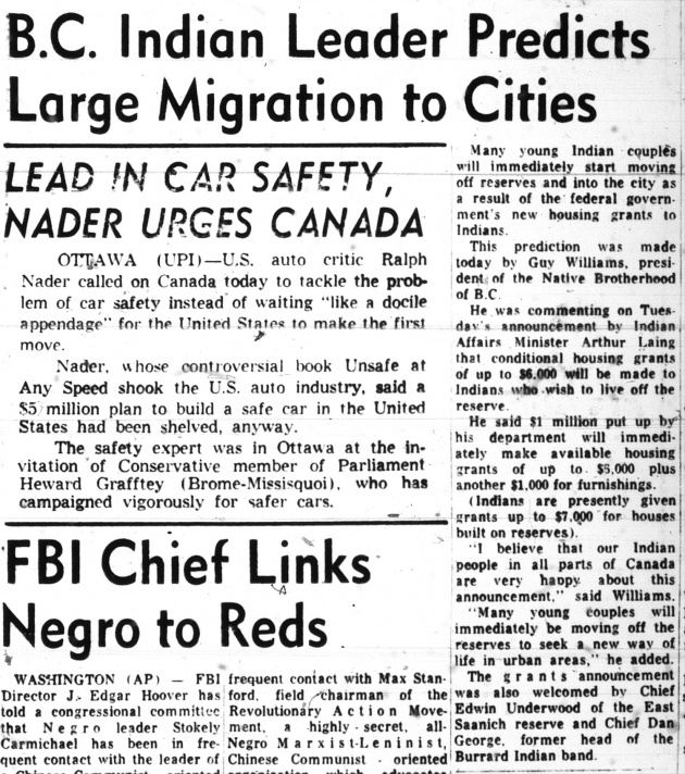 BC Indian Leader Predicts Large Migration to Cities, Vancouver Sun, May 17, 1967 (page 30)
