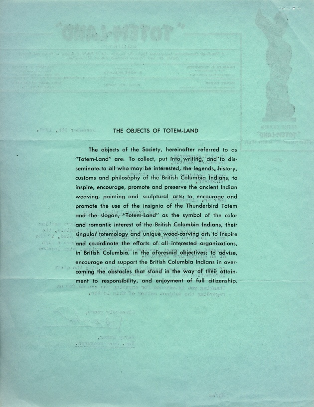 Totem-Land Mission Statement, 1954