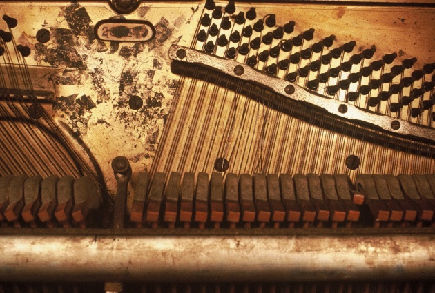 "Detail of Al Neil's piano from ""What is a Piano"" a performance at the Western Front"