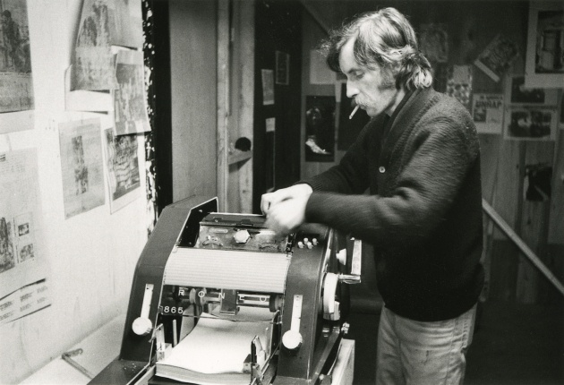 Michael de Courcy, Gerry Gilbert using the Roneo at Intermedia, 1968