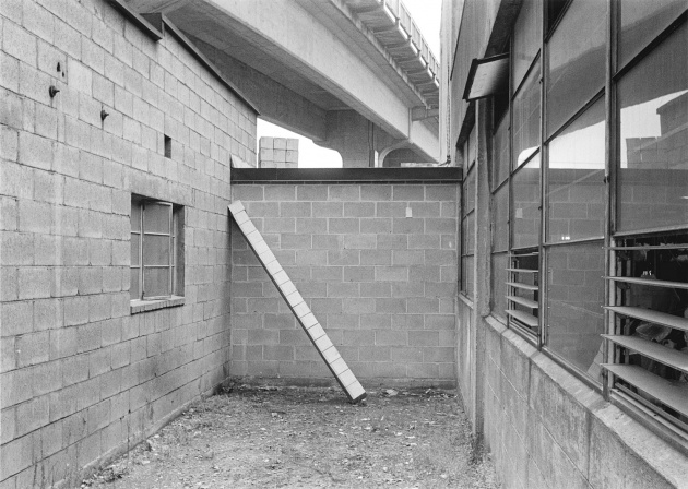 Michael de  Courcy, Boxes under the Granville Street Bridge, 1969