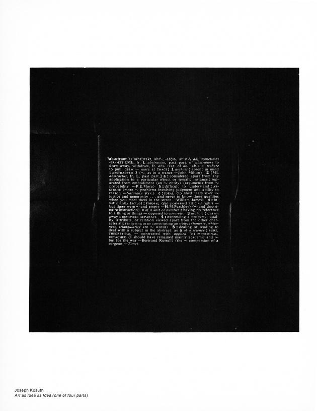 "Joseph Kosuth, ""Art as Idea as Idea (one of four parts),"" 1969"