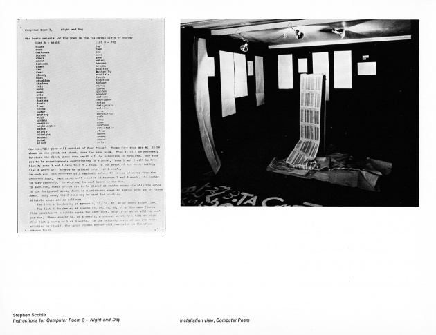 Stephen Scobie, Instructions for Computer Poem 3 - Night and Day/Installation View, 1969