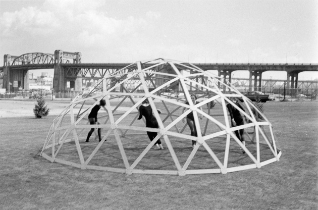 Dancers performing in a Geodesic Dome, Michael de Courcy