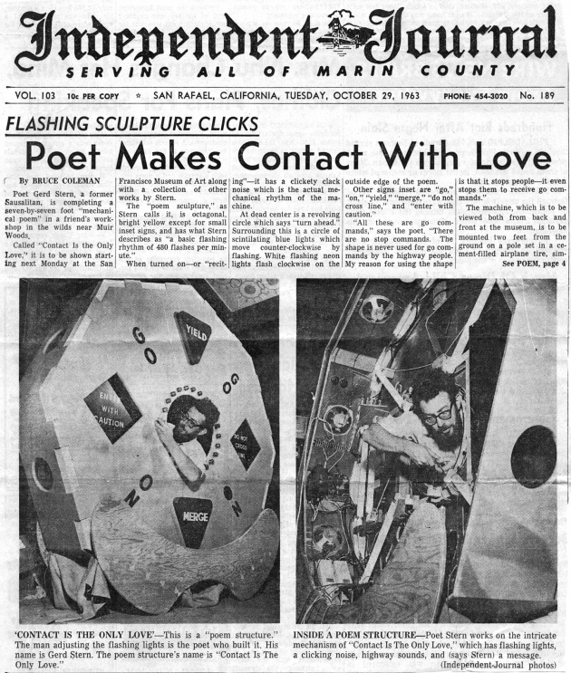 Flashing Sculpture Clicks: Poet Makes Contact With Love, Independent Journal, October 29, 1963