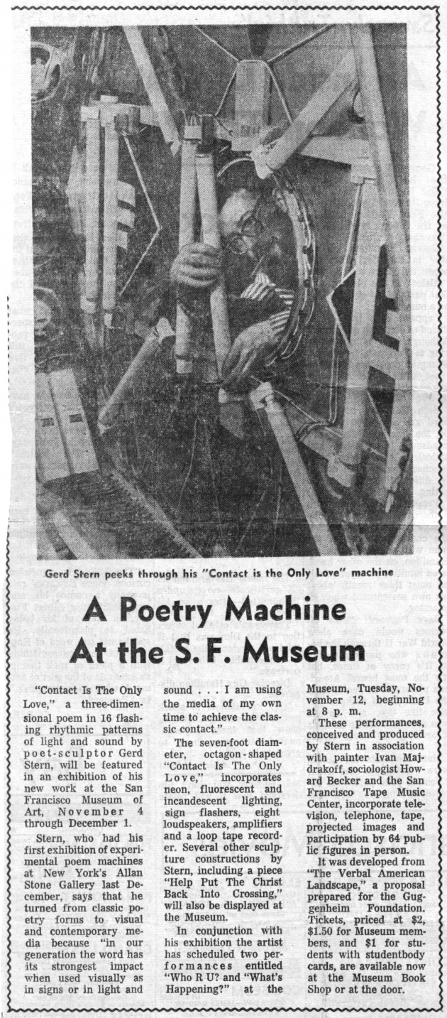 A Poetry Machine at the S.F. Museum, The San Francisco Chronicle, October 30, 1963