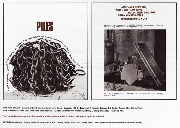 Two Shows: Piles/Random Sample (exhibition poster), 1968
