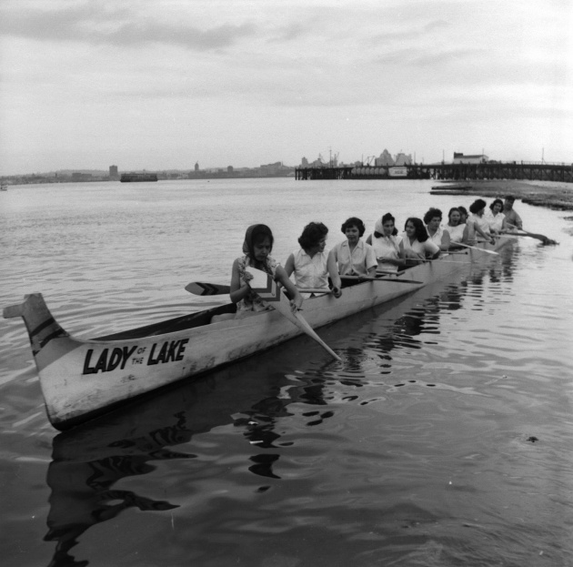 Salish canoe races in North Vancouver, May 1962
