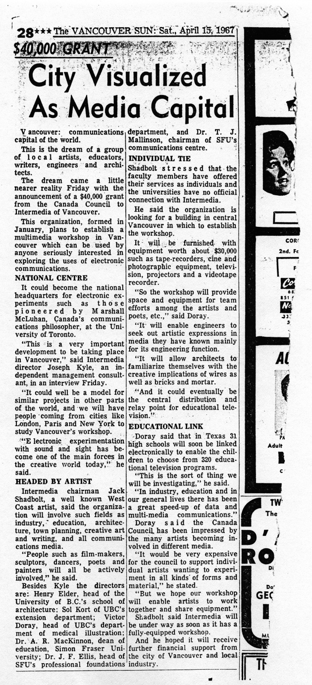 City Visualized as Media Captial, Vancouver Sun, April 15, 1967