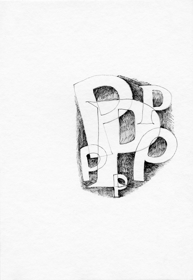 Carole Itter, Diminishing Alphabet, Series of 26 drawings, c. 1971
