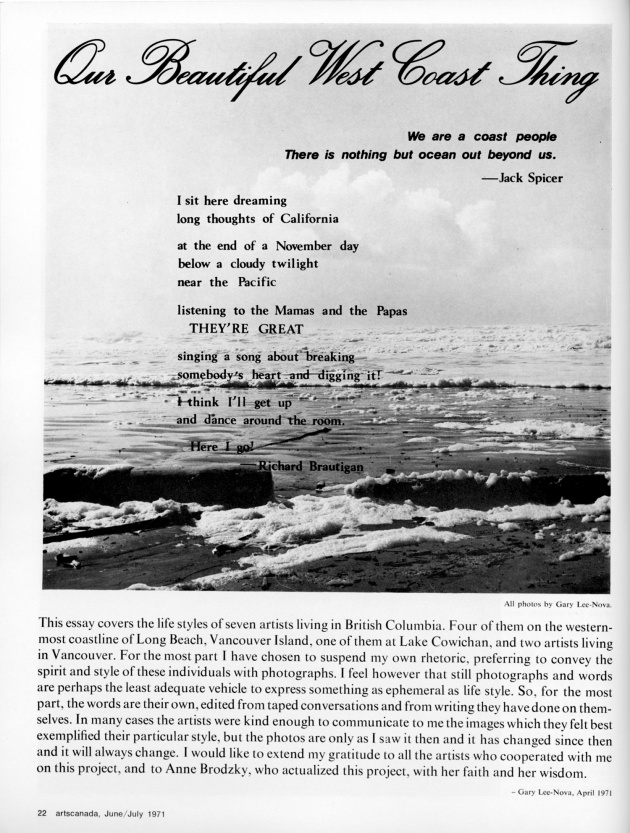 """Our Beautiful West Coast Thing"",  artscanada, June/July, 1971 (page 22)"