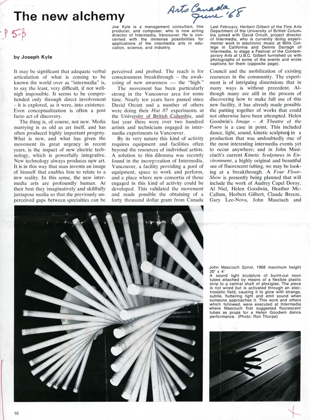 The New Alchemy, artscanada, June 1968 (page 10)