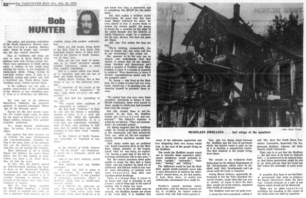 Mudflats Dwelling... last refuge of the squatters, Vancouver Sun, February 23, 1973