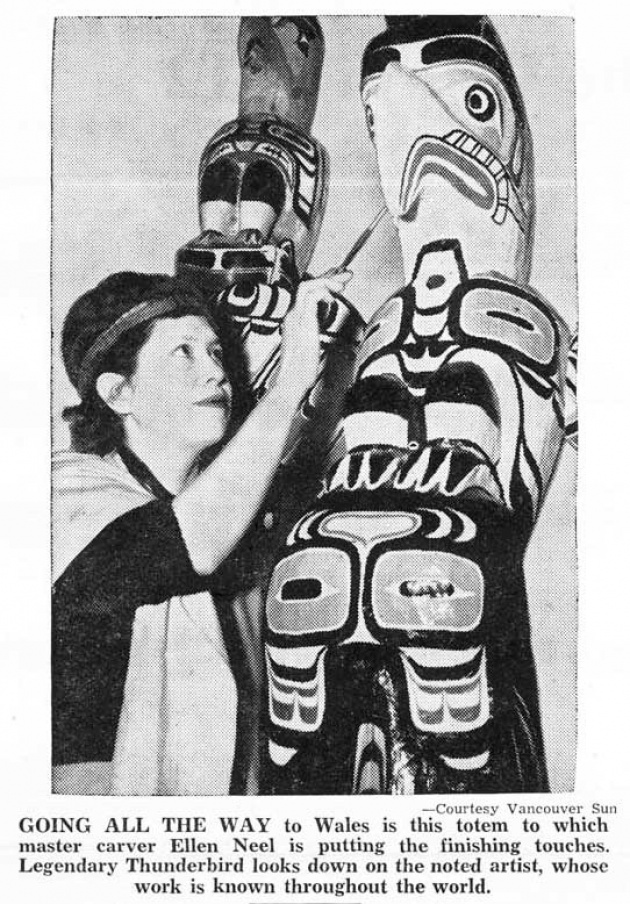 Thunderbird Totem Heading for Wales, Native Voice, May 1954 (page 6)