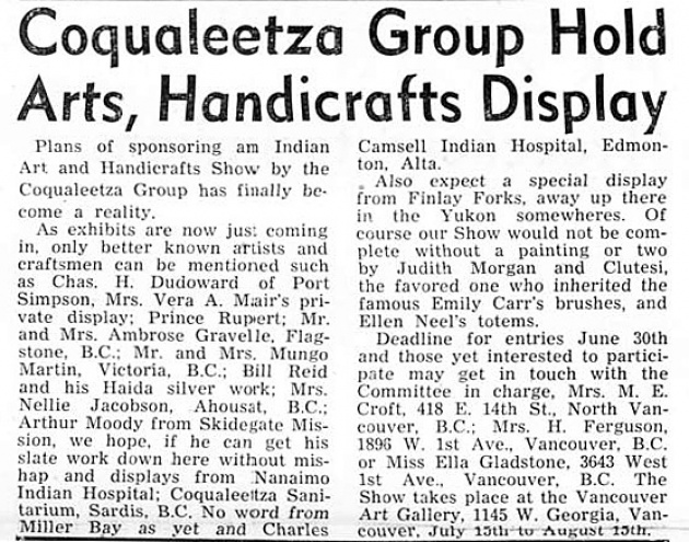 Haida Argillite Carver Robert Davidson, Native Voice, June 1954 (page 3)