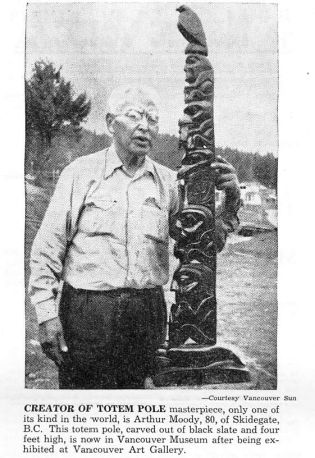 Creator of Totem Pole, Native Voice, September 1954 (page 3)