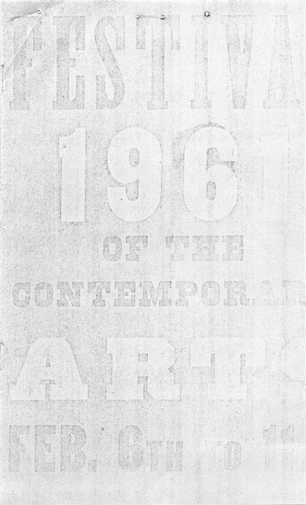 Pamphlet for the 1961 Festival of Contemporary Arts Feb 6th to 11th