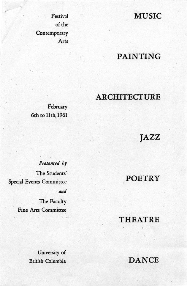 Festival 1961 of Contemporary Arts Feb 6th to 11th (pamphlet)