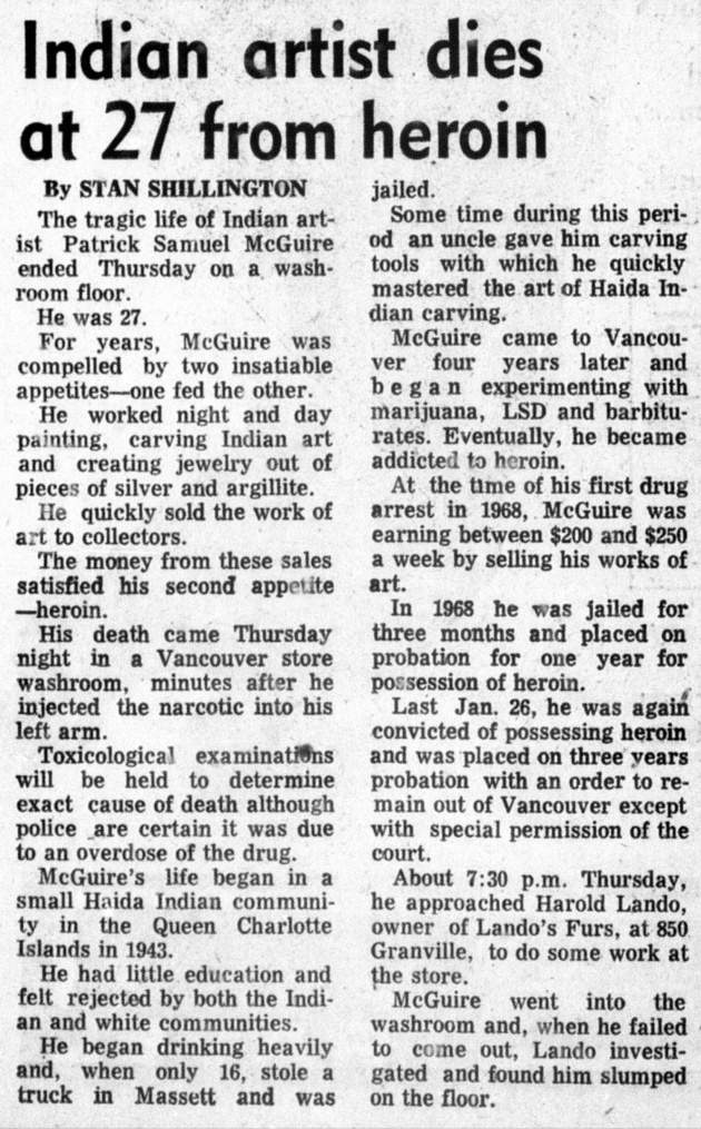 Indian artist dies at 27 from heroin, Vancouver Sun, December 11, 1970 (page 37)