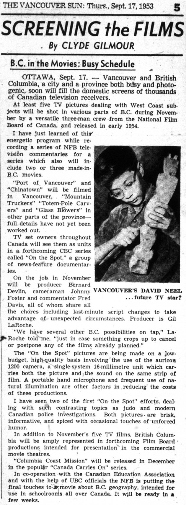 Screening the Films, Vancouver Sun, September 17, 1953 (page 5)