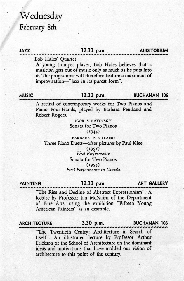 Festival 1961 of the Contemporary Arts Feb. 6th to 11th (pamphlet)