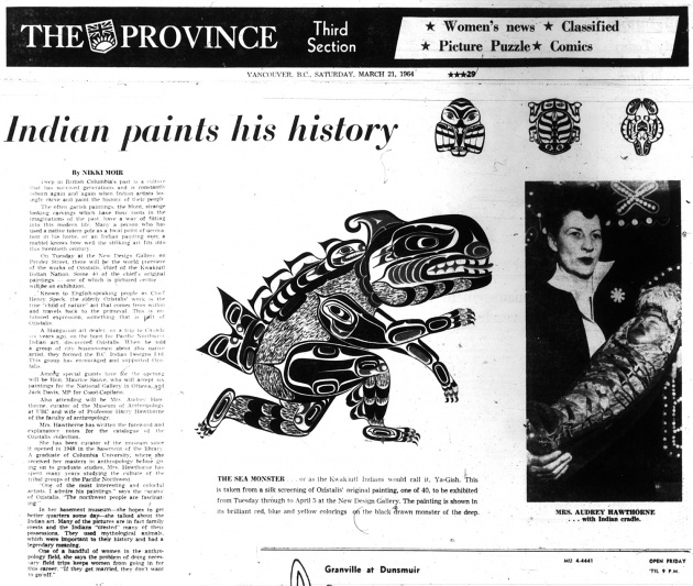 Indian paints his history, Vancouver Province, March 21, 1964 (page 29)