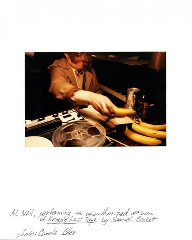 "Al Neil performing ""Krapps Last Tape,"" Coburg Gallery, Vancouver"
