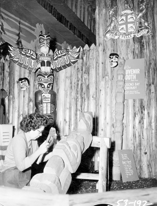 Kwakiute Indian Carving Totem Pole, Ellen Neel carving demonstration, 1953