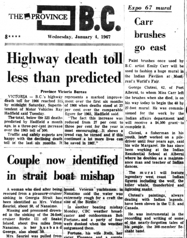 Carr Brushes go east, Vancouver Province, January 4, 1967 (page 8)