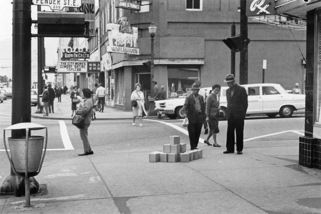 Michael de Courcy, Boxes on Pender Street, 1969