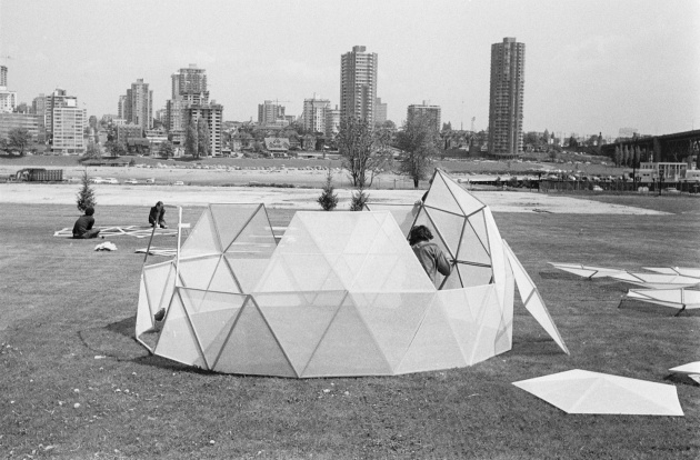 Geodesic dome construction on False Creek, Michael de Courcy