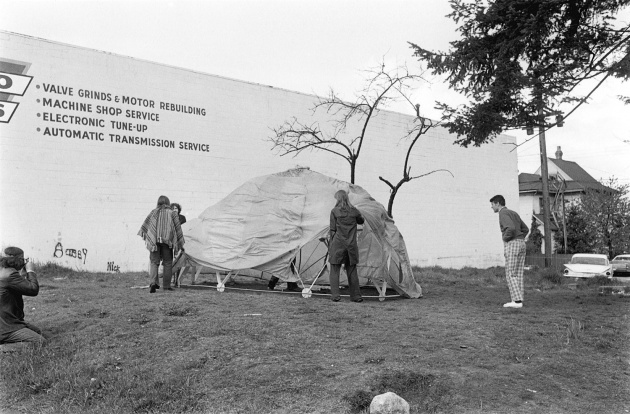Geodesic Dome construction in a vacant lot, 1970