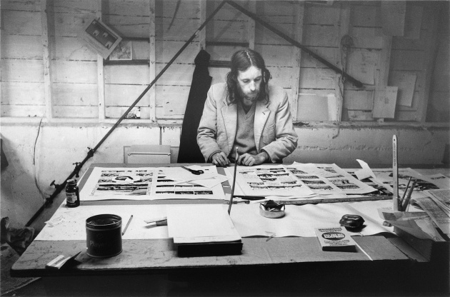 Gerry Gilbert working on the Dome Show's Georgia Straight Newspaper Instert, Michael de Courcy, 1970