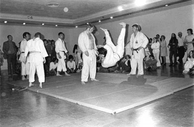Judo demonstration at the opening of the dome show, Michael de Courcy, 1970