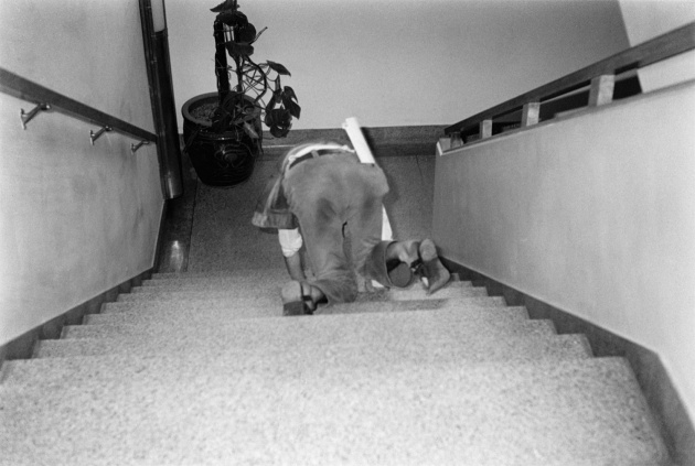 Michael de Courcy, Poet crawling down stairs at the Dome Show, 1970