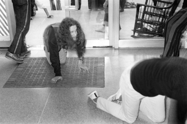 Michael de Courcy,Poets entering the gallery at the Dome Show, 1970