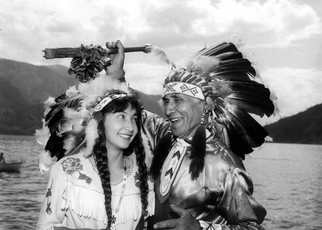 Diana Dunstan and Chief Dan George, 1960