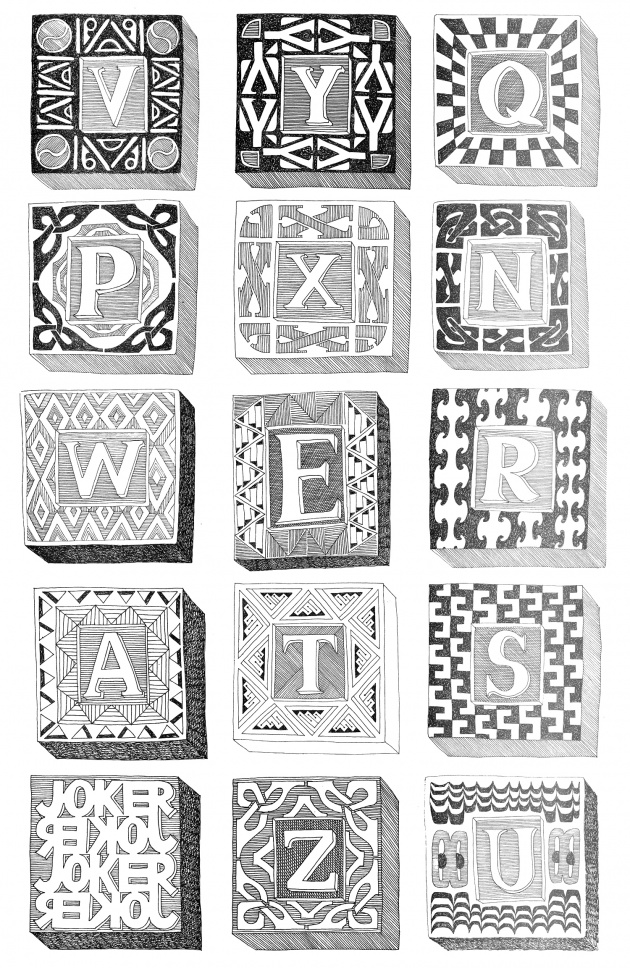 Carole Itter, Alphabet, series of drawings, 1974-75
