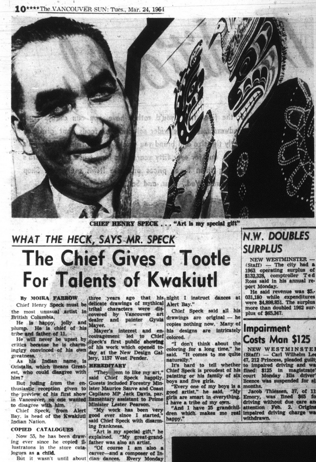 What the Heck Says Mr. Speck: The Chief Gives a Tootle for the Talents of Kwakiutl, Vancouver Sun, March 24, 1961 (page 10)