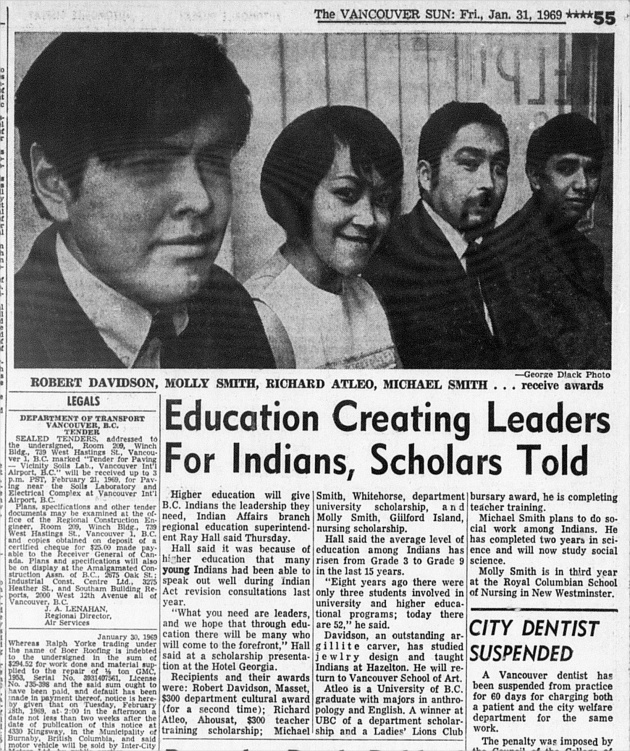 Education Creating Leaders for Indians, Scholars Told, Vancouver Sun, January 31, 1969 (page 55)