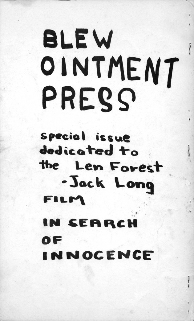 Blew Ointment Press, Vol. 1 #1, October, 1963 (back cover)