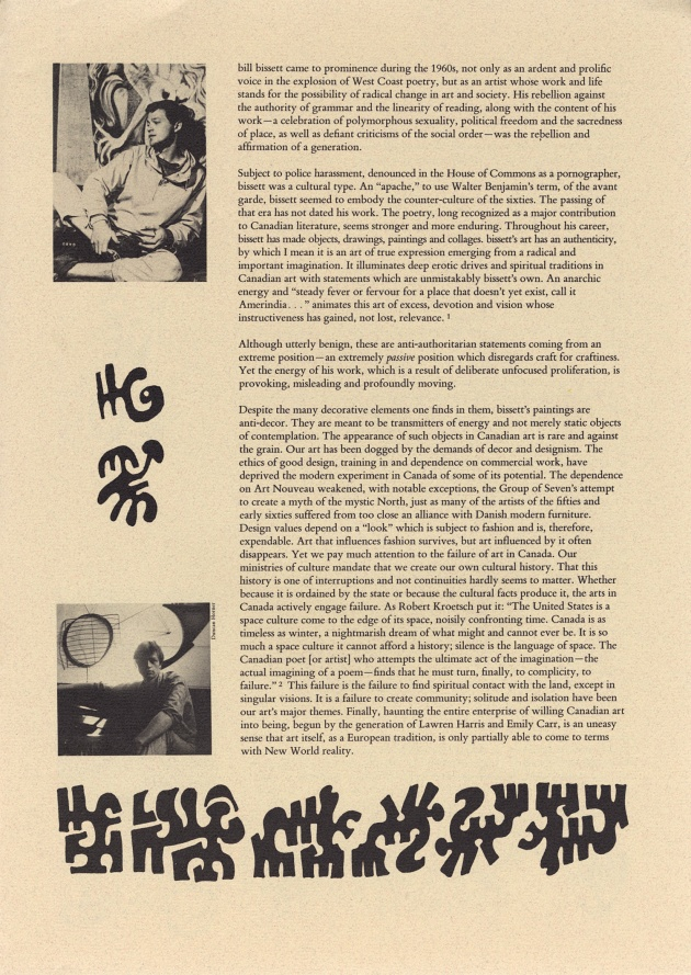 "bill bissett, fire in th tempul text, (as published in ""fire in the tempul"", 1984; Vancouver Art Gallery), 1984"