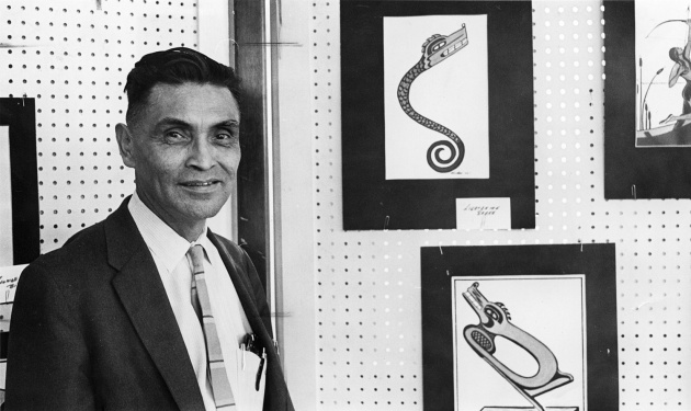 George Clutesi presenting a display of First Nations Art, 1966